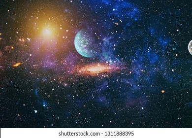Galaxy creative background. Starfield stardust and nebula space. background with nebula, stardust and bright shining stars. Elements of this image furnished by NASA. - Image