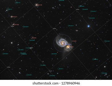 Galaxy M51 (Messier 51) in constellation Canes Venatici, picture with annotation