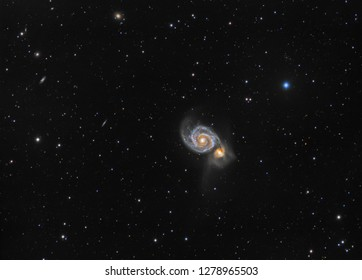 Galaxy M51 (Messier 51) in constellation Canes Venatici. Amateur photography made with apochromatic refractor telescope and scientific camera. Total exposure time 4h26m.