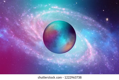 Galaxy Milkyway fine art background of an infinite space with stars, galaxies, nebulae. bright oil stains and blots with white dots with super creative moon