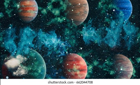 Galaxy and Planet - Elements of this Image Furnished by NASA