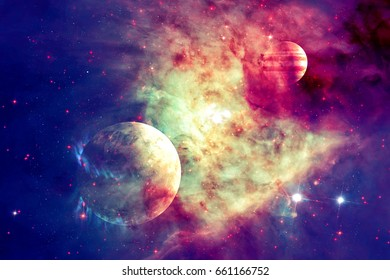Galaxy and planet in outer space. Elements of this image furnished by NASA.