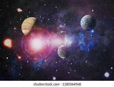 Galaxy in space, beauty of universe, black hole. Elements furnished by NASA ,