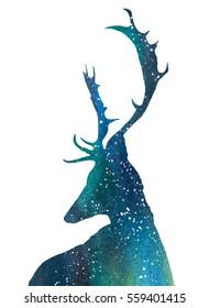 Galaxy/Cosmos/Universe Deer. Watercolor Illustration.