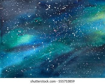 Galaxy/Universe Watercolor Illustration