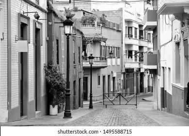 Galdar, Gran Canaria - town street view. Black and white retro style.