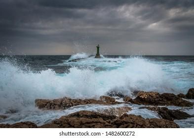 Gale force SE wind create big waves at Punta Planka, Dalmatia, Croatia