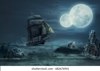 Gale force winds blow sails of schooner and push sailing ship to a rocky coast. Two moons on dark stormy sky. Flock of black birds flies in dramatic cloudy sky over night sea. Fantasy concept