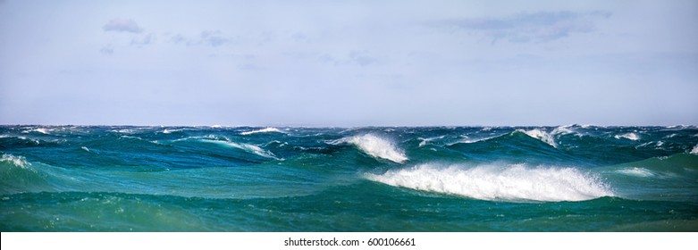 Gale force winds create large waves on Lake Michigan in northern Michigan