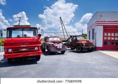 Galena, Kansas - July 19, 2017: Cars on the Route in Galena, Kansas is a fun stop on Old US Highway 66. was restored by 4 women from Galena. The movie Cars, was inspired by this place