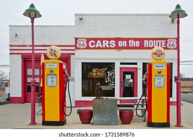 """Galena, Kansas / USA - December 29, 2017:   This little gas station turned shop and deli is about all that exists of Route 66 in Kansas.  Called """"Cars on the Route,"""" it has a deli and shop inside."""