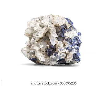 Galena metallic ore mineral sample a rare earth mineral of zinc and lead isolated on white with clipping path