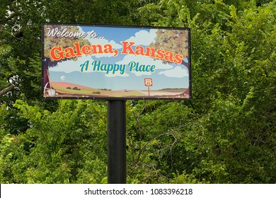 "Galena/Kansas, USA - 07 02 2015: Welcome sign of Galena. Famous place along historic Route 66 / Home of ""Cars on the Route""."