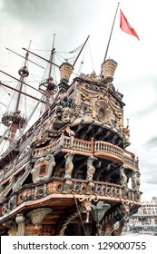 Galeone Neptune ship, tourist attraction in Genoa. The ship was built in 1985 for Roman Polanskis film Pirates.Italy