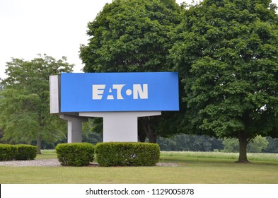 GALESBURG, MI / USA - JULY 16, 2017:  Eaton Corporation, whose Galesburg location logo is shown here, is a power management company