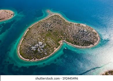 GALESNJAK, CROATIA - August 23, 2012 - Aerial view of island Galesnjak in the form of heart - Adriatic mediterranean sea, Croatia, Europe.