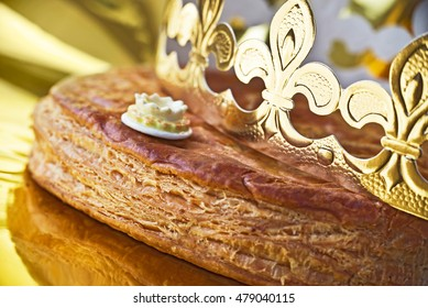 Galette des rois, french kingcake with a golden crown