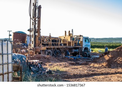 Galia, Sao Paulo, Brazil, May 27, 2019. Drilling of an artesian well to capture water that will be used for irrigation on a coffee farm in the municipality of Galia, central west region of Sao Paulo