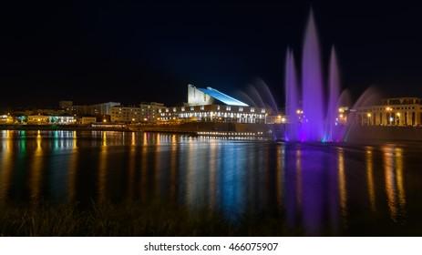 Galiaskar Kamal Tatar Academic Theatre and fountain view in Kazan city. Good place for evening and night walk.