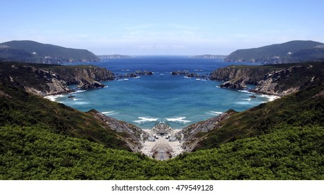 Galicia cliffs geometric composition, geometric abstract and surreal landscape of the coast of Galicia, abstract surreal photography North, Cedeira, La Coruna, Spain,