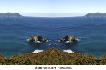Galicia cliffs geometric composition,A Pena Furada, geometric abstract and surreal landscape of the coast of Loiba.Galicia, abstract surreal photography North,La Coruna,Spain, Geology forms,