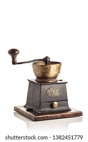 Galicia, Spain; April 24, 2019: Edwardian coffee grinder. Delightfully proportioned brass and cast iron coffee grinder manufactured by the Hill Top Foundry Company