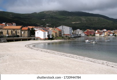 Galicia, Spain - August 12, 2008: General view of the Virxe beach in the coastal town of Muros, in A Coruna