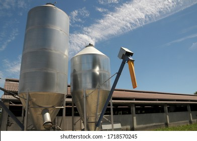 Galicia, Spain - August 19, 2008: Deposits in a cow farm in the Palas de Rei area, in Lugo, Galicia, Spain