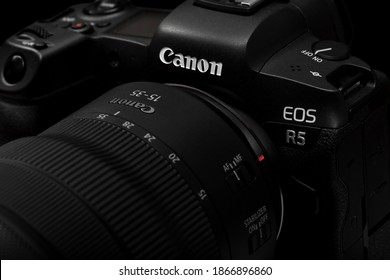 Galicia, Spain - December 03, 2020: New Mirrorless Camera Canon EOS R5 with Canon RF  15-35mm f2.8L IS USM lens.