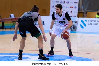 A CORUÑA, GALICIA, SPAIN -FEBRUARY 6, 2021. Spanish League Basketball between Leyma Basquet Coruña and Iberolica Renovables Ourense. Selective Focus.