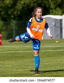 A CORUÑA, GALICIA, SPAIN - MAY  2, 2021. Female Spanish Soccer League  R.C. Deportivo de La Coruña vs Madrid C.F.F.  Selective Focus.