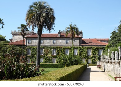 Galician public country side with a beautiful garden