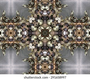 Galicians barnacles, kaleidoscopic picture, cross with barnacles, barnacles shaped cross, artistic composition with barnacles, Cedeira, Corme, Galicia, La Coruna, Spain, delicatesen,