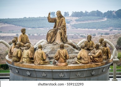 GALILEE, ISRAEL - DECEMBER 3: The statues of Jesus and Twelve Apostles in Domus Galilaeae on the Mount of Beatitudes near the Sea of Galilee in Galilee, Israel on December 3, 2016