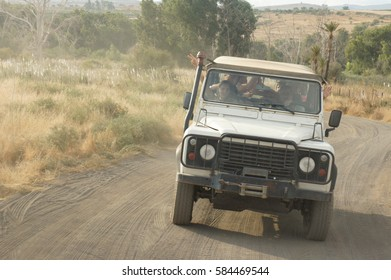 GALILEE, ISRAEL - OCTOBER 24: SUV rides on the country road, people travel on the jeep, the off-road tour in Galilee, Israel on October 24, 2016