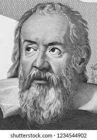 Galileo Galilei (1564 - 1642) face portrait on Italian lire banknote. Genius scientist, mathematician, astronomer, philosopher and inventor, famous renaissance character. Black and white.