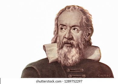 Galileo Galilei Portrait from Italy Banknotes. Genius inventor, philosopher, astronomer, mathematician. Famous scientist in physics and astronomy, discoverer of telescope. Closeup Collection