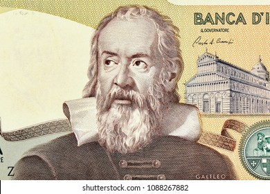 Galileo Galilei portrait on Italy 2000 lira (1983) banknote closeup macro, genius Italian scientist, mathematician, astronomer, philosopher and inventor, father of modern physics.Close Up UNC