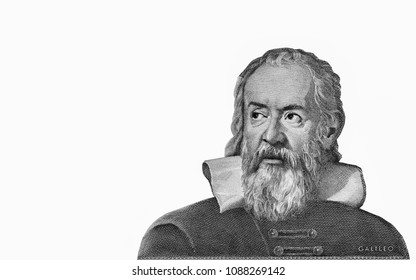 Galileo Galilei portrait on Italy 2000 lira (1983) banknote, genius Italian scientist, mathematician, astronomer, philosopher inventor, father of modern physics. Close Up UNC Uncirculated - Collection