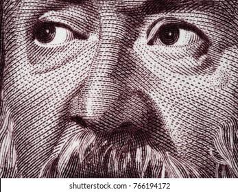 Galileo Galilei portrait on Italy 2000 lira (1983) banknote closeup macro, genius Italian scientist, mathematician, astronomer, philosopher and inventor, father of modern physics.