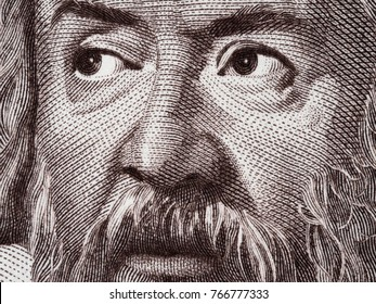 Galileo Galilei portrait on Italy 2000 lira (1983) banknote closeup macro, genius Italian scientist, mathematician, astronomer, philosopher and inventor, father of modern physics.