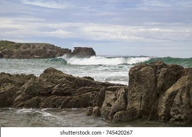 Galizano beach in Cantabria, Spain