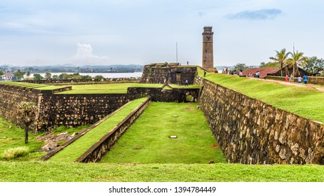 Galle Fort on the southwest of Sri Lanka. Panorama of old Dutch fortification on the Indian ocean coast. It is one of the main landmarks of Sri Lanka. Scenic view of overgrown medieval ruins.
