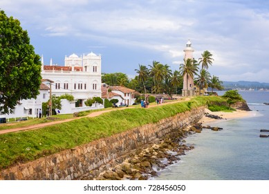 Galle Fort, Sri Lanka. View on the walls, lightower and the mosque of sea fortress in Galle (Galle Fort) in south of Sri Lanka.