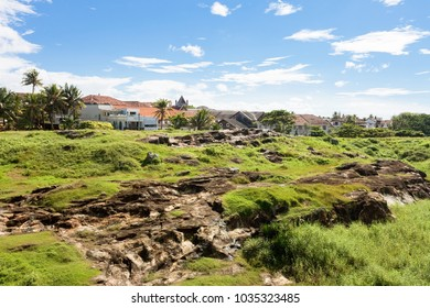 Galle, Sri Lanka, Asia - A huge meadow upon the medieval town wall of Galle
