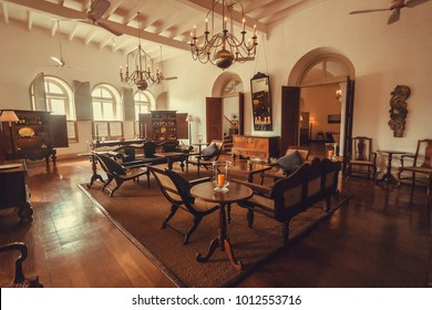 GALLE, SRI LANKA - DEC 23, 2017: Inside the 5-star historical boutique hotel with wooden furniture and antiques on December 23, 2017. Galle Fort is UNESCO World Heritage Site, built in 1588
