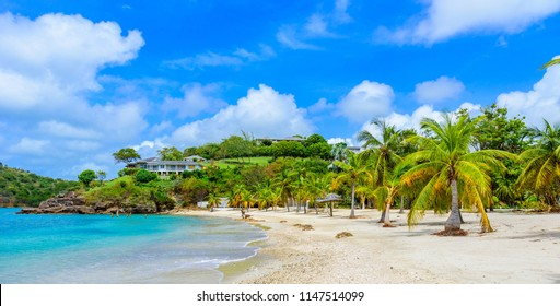 Galleon Beach on  Caribbean island Antigua, English Harbour, paradise bay at tropical island in the Caribbean Sea