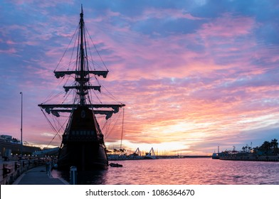 galleon in the port at dawn
