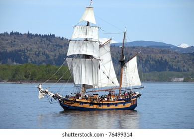 Galleon sailing the Columbia river near Longview WA.