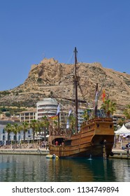 Galleon ship, the Santisima Trinidad, a popular tourist attraction and replica galleon in the city port of Alicante. Spain, Valencia, Spain. Europe. July 2018